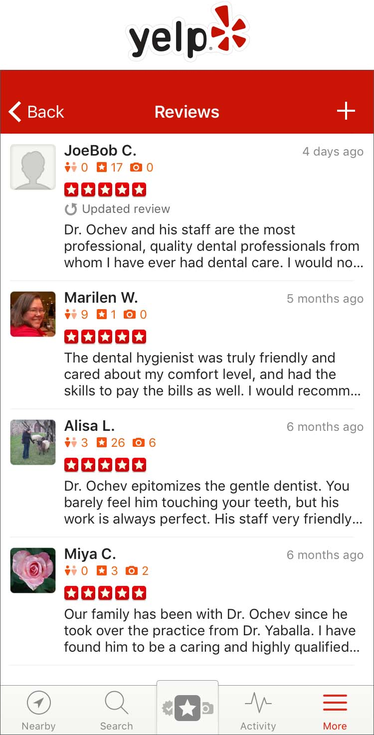 Screenshot of multiple 5 star ratings and commentary of Dr. Ochev's practice on Yelp